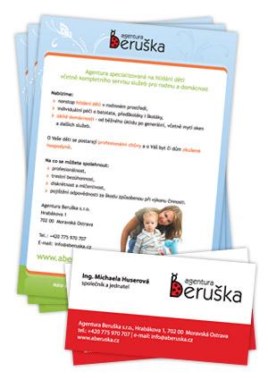 Agentura Beruška - vizitky, leták