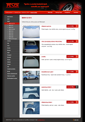 Pesch - prodej autodílů pro motosport (e-shop)