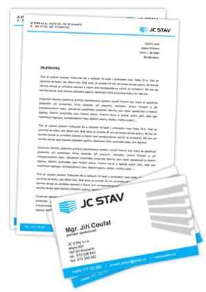 JC STAV - vizitky a hlavičkový papír
